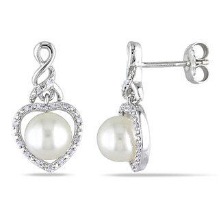 Miadora Silver White Pearl and 1/10ct TDW Diamond Heart Earrings (H-I, I2-I3)
