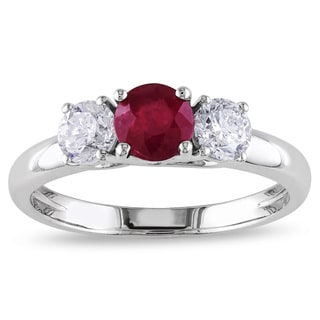 Miadora Signature Collection 14k White Gold Ruby and 1/2ct TDW Diamond 3-stone Ring (G-H, I1-I2)