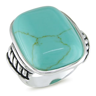 Miadora Sterling Silver Turquoise Cocktail Ring