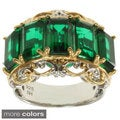 Michael Valitutti Two-tone Purple or Green Quartz and White Sapphire Ring
