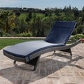 Christopher Knight Home Outdoor Wicker Adjustable Chaise Lounge with Colored Cushion