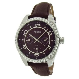 Fossil Women's BQ1093 Crystal Bezel Burgundy Leather Watch