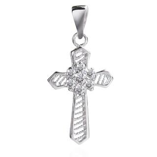 Flower of Faith Cubic Zirconia Cross .925 Silver Pendant (Thailand)