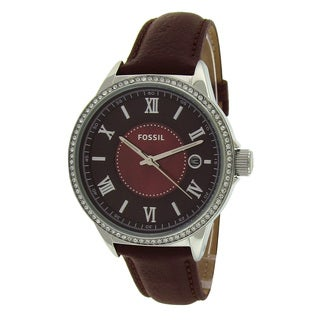 Fossil Women's BQ1112 Crystal Bezel Brown Leather Watch