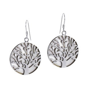 Tree of Life Overlay Mother of Pearl .925 Silver Earrings (Thailand)