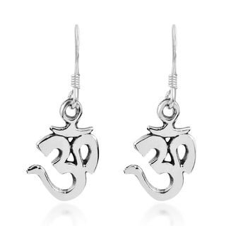 Spiritual Mantra Aum or Om .925 Silver Dangle Earrings (Thailand)
