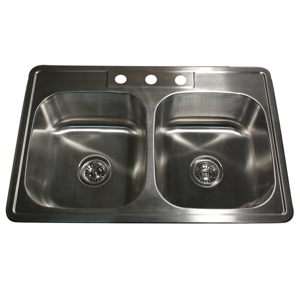 22-Gauge Stainless Steel Drop-in Double Bowl Kitchen Sink