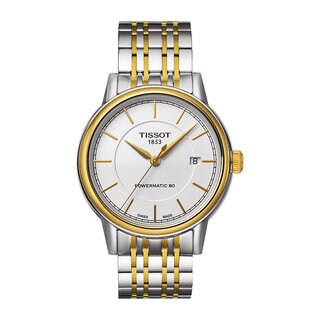 Tissot Men's T0854072201100 T-Classic Powermatic White Dial Two-tone Watch