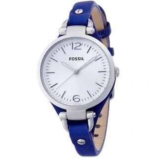 Fossil Women's ES3318 Georgia Blue Leather Skinny Strap Watch