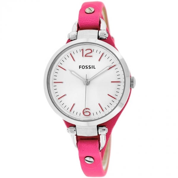 Fossil Women's ES3299 Georgia Three-hand Pink Leather Skinny Strap Watch