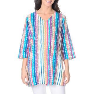 La Cera Women's Novelty Geometric Tunic Top