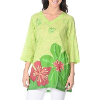 La Cera Women's Tropical Floral Print TunicTop