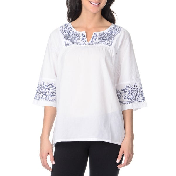La Cera Women's Contrast Embroidered Top