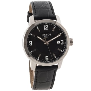 Tissot Men's T0554101605700 PRC 200 Black Dial Leather Sport Watch