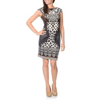 London Times Women's Printed Sheath Ponte Dress