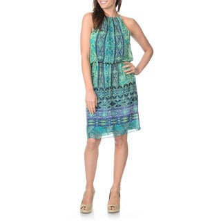 London Times Women's Boho Printed Halter Dress