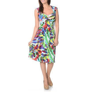 London Times Women's Printed Fit and Flare Jersey Dress