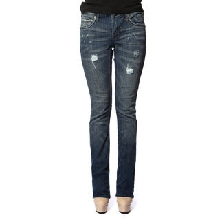 Stitch's Women's Curvy Slim Distressed Blue Jeans