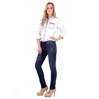 Stitch's Women's Slim Straight Leg Distressed Blue Jeans