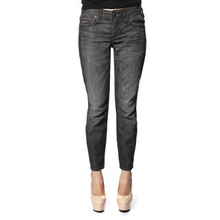 Stitch's Women's Black Worn Denim Ankle-zip Skinny Jeans