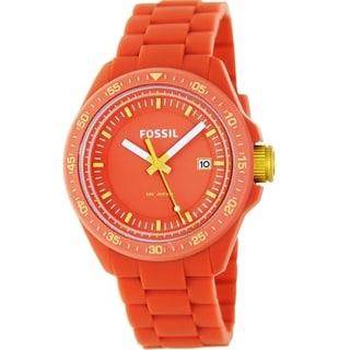 Fossil Women's AM4504 'Decker' Orange Silicone Watch