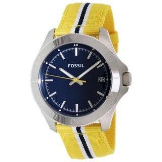 Fossil Women's AM4477 'Retro Traveler' Yellow Nylon Watch