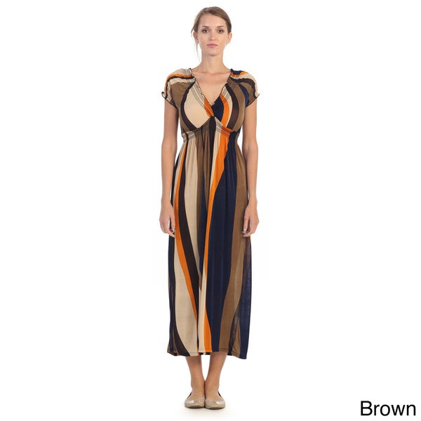 Hadari Women's Multicolored Swirl Print Maxi Dress