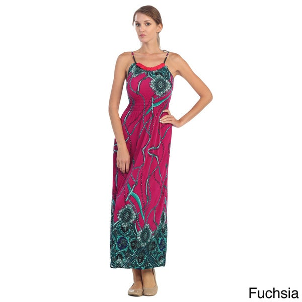 Hadari Women's Abstract Print Cinched-waist Maxi Dress