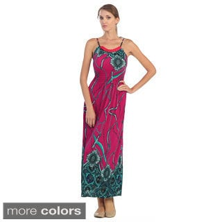 Women's Abstract Print Cinched-waist Maxi Dress