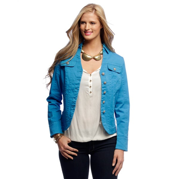 Women's Turquoise Seam Split Collar Jacket