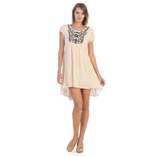 Hadari Women's Beige Floral Embroidered High-low Dress