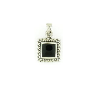 Sterling Silver Square Rope-Beaded Onyx Pendant (Thailand)