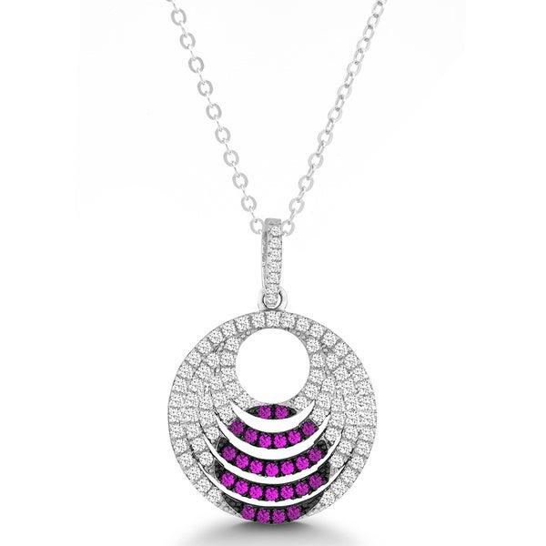 La Preciosa Sterling Silver White and Pink Micro Pave Cubic Zirconia Circle Pendant