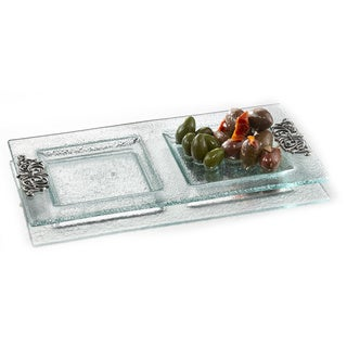 Fifth Avenue Crystal Scroll 2-section Server