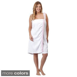 Aegean Women's Plus Size Cotton Gingham-trim Shower Wrap