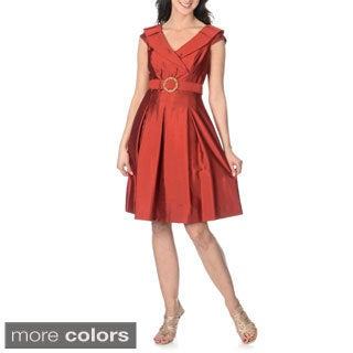 Tahari Arthur S. Levine Women's Portrait Collar Belted Dress