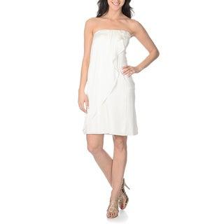 Tahari Arthur S. Levine Women's Strapless Cascading Ruffle Dress