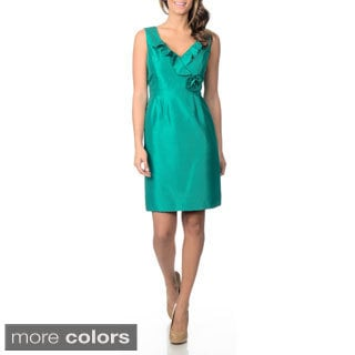 Tahari Arthur S. Levine Women's Ruffle Neckline Sheath Dress