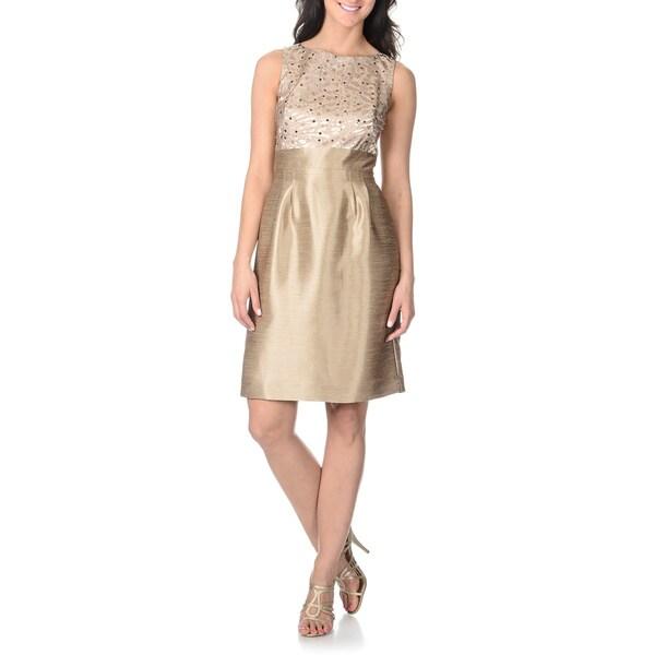 Tahari Arthur S. Levine Women's Sequin Animal Jacquard Bust Dress