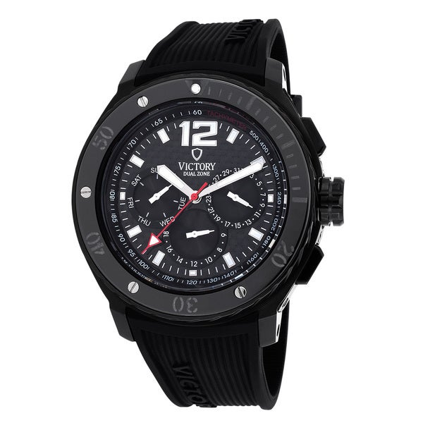 Victory Men's 3558-B V-Ascent Dual Time Zone Black Watch