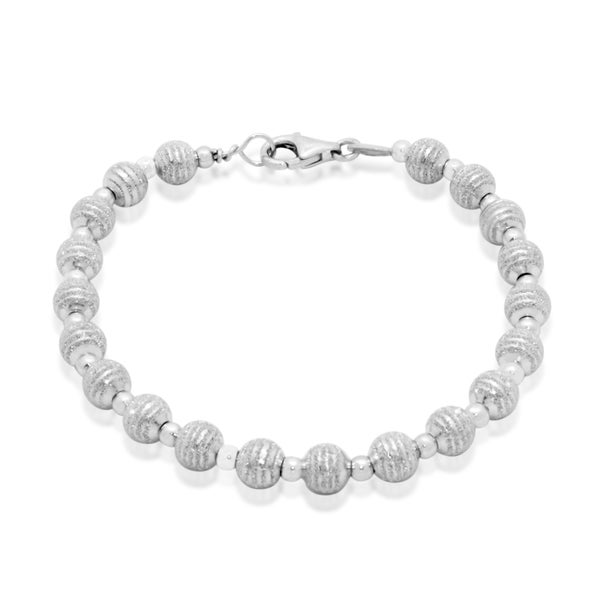 Gioelli Sterling Silver Laser Striped Beads Bracelet