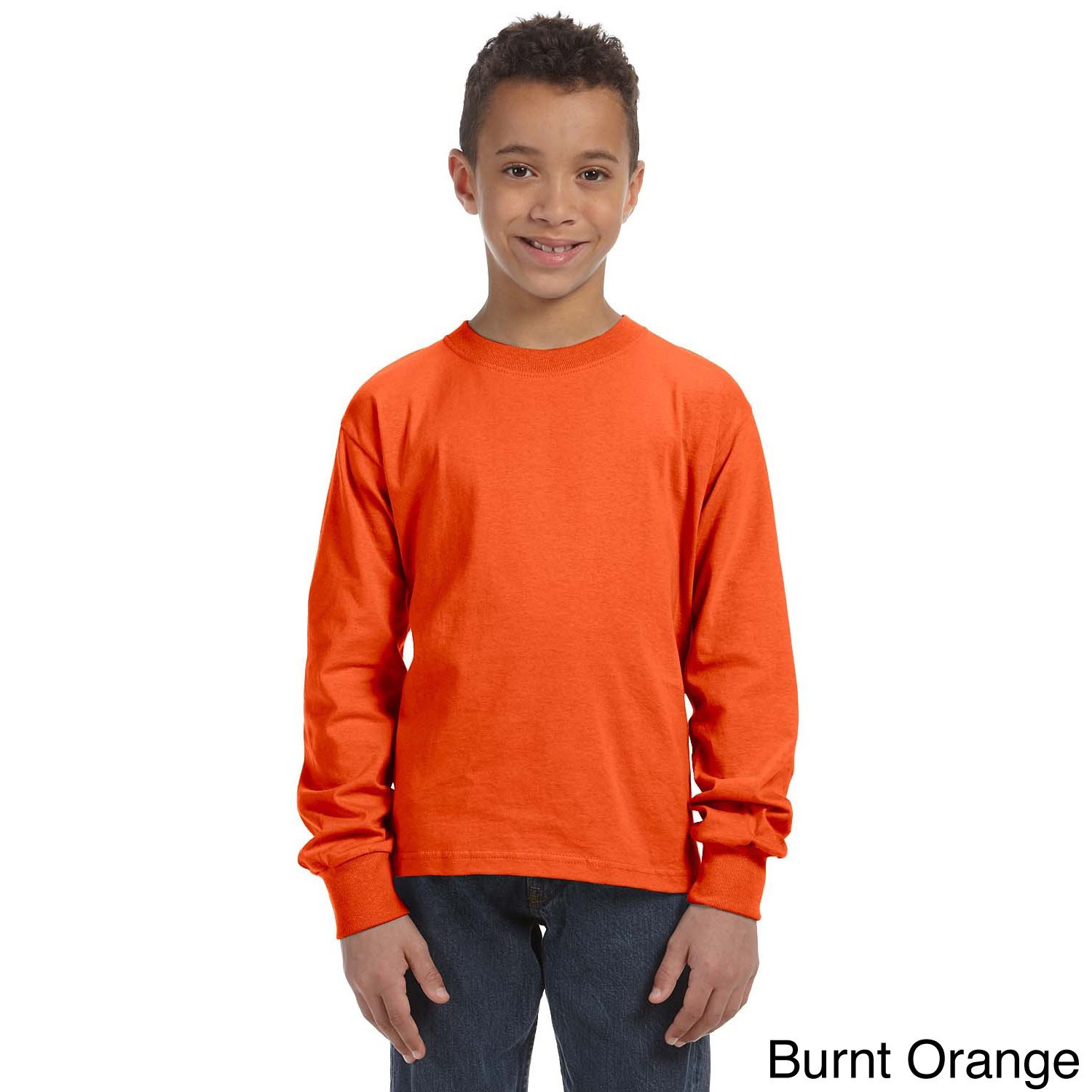 Fruit Of The Loom Fruit Of The Loom Youth Heavy Cotton Hd Long Sleeve T shirt Orange Size L (14 16)