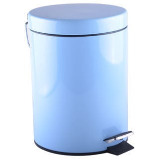 5-liter Round Powder Blue Wastebasket with Lid