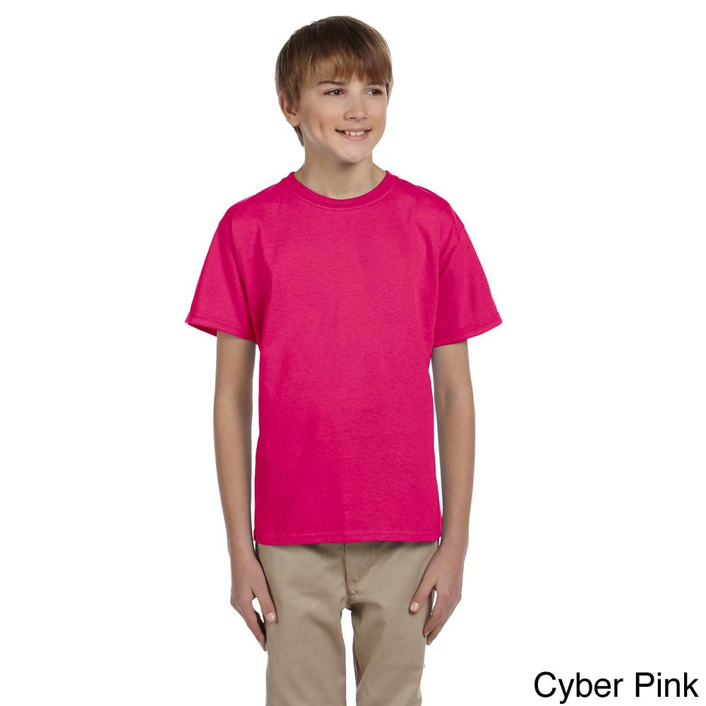 Fruit Of The Loom Fruit Of The Loom Youth Boys Heavy Cotton Hd T shirt Pink Size L (14 16)