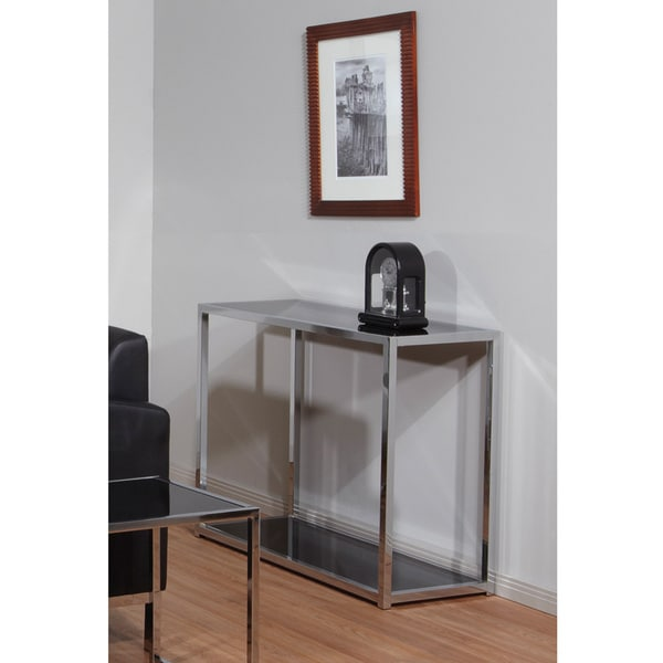 Foyer Table Deals : Ave six yield chrome and black glass foyer table