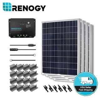 Renogy Solar Starter Kit: 400W Polycrystalline 12V w/ 4 100W Solar Pnl/ 20' Adapt Kit/ 30A Chg Cont/ MC4 Branch Conn/ Z Brack