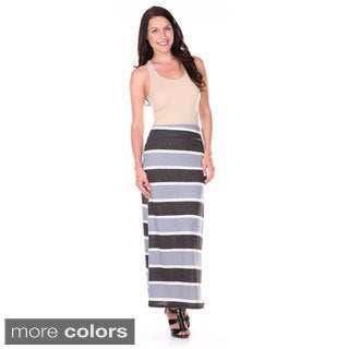 Stanzino Women's Plus Size Striped Maxi Skirt