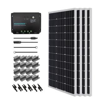 Renogy Solar Starter Kit: 400W Monocrystalline 12V w/ 4 100W Solar Panel/ 20 ft. Ad Kit/ 30A Cnt/ MC4 Branch Conn/ Z Brackets