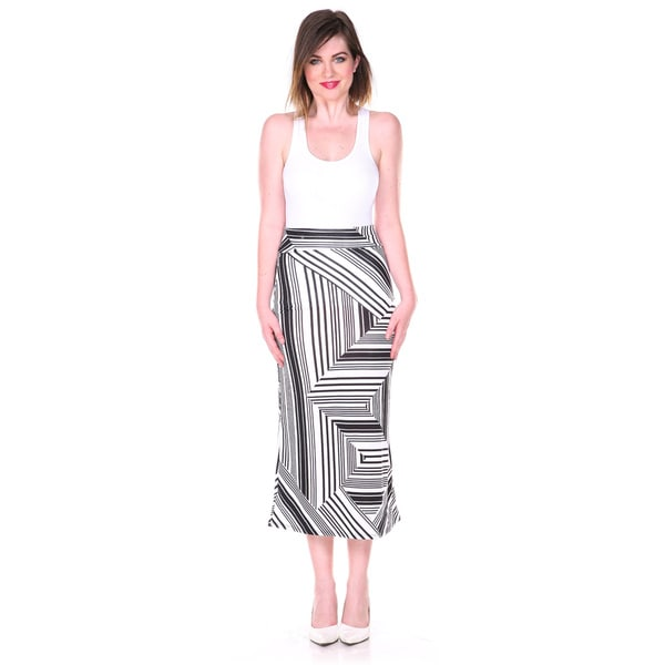 Stanzino Women's Black and White Geometric Print Maxi Skirt