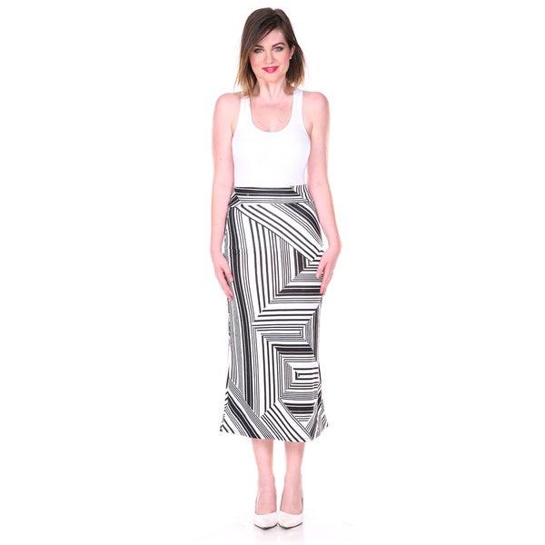 Stanzino Women's Black and White Geometric Print Maxi Skirt